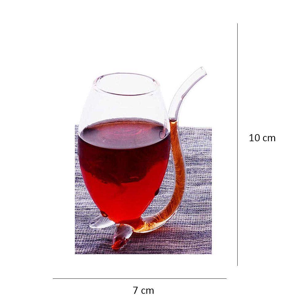 Copo Vampiro Pequeno de Vidro com Canudo 150 ml