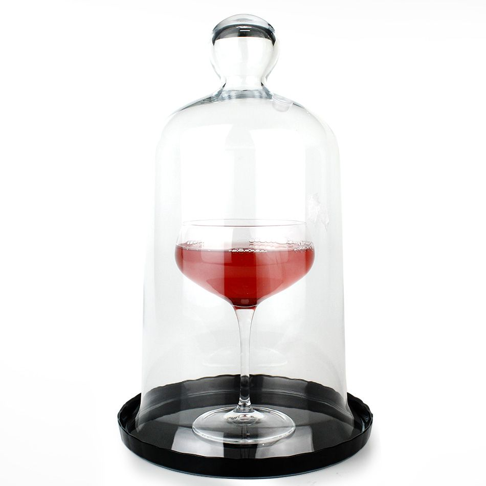 Cúpula de Vidro com Base para Defumação de Coquetéis