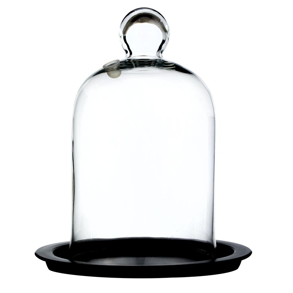 Cúpula de Vidro Pequena com Base para Defumação de Coquetéis