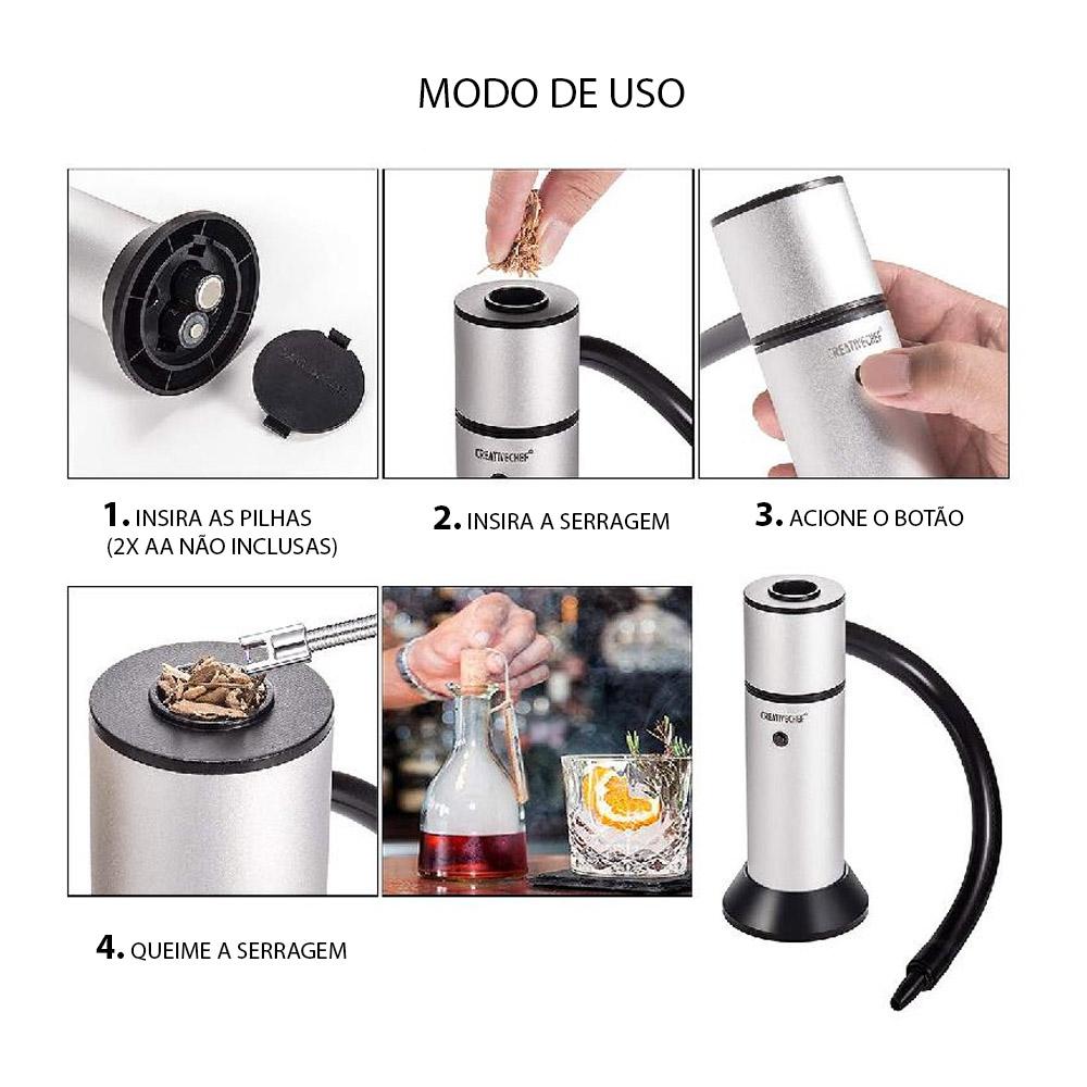 Defumador Portátil para Drinks e Coquetéis Smoke Gun CREATIVECHEF