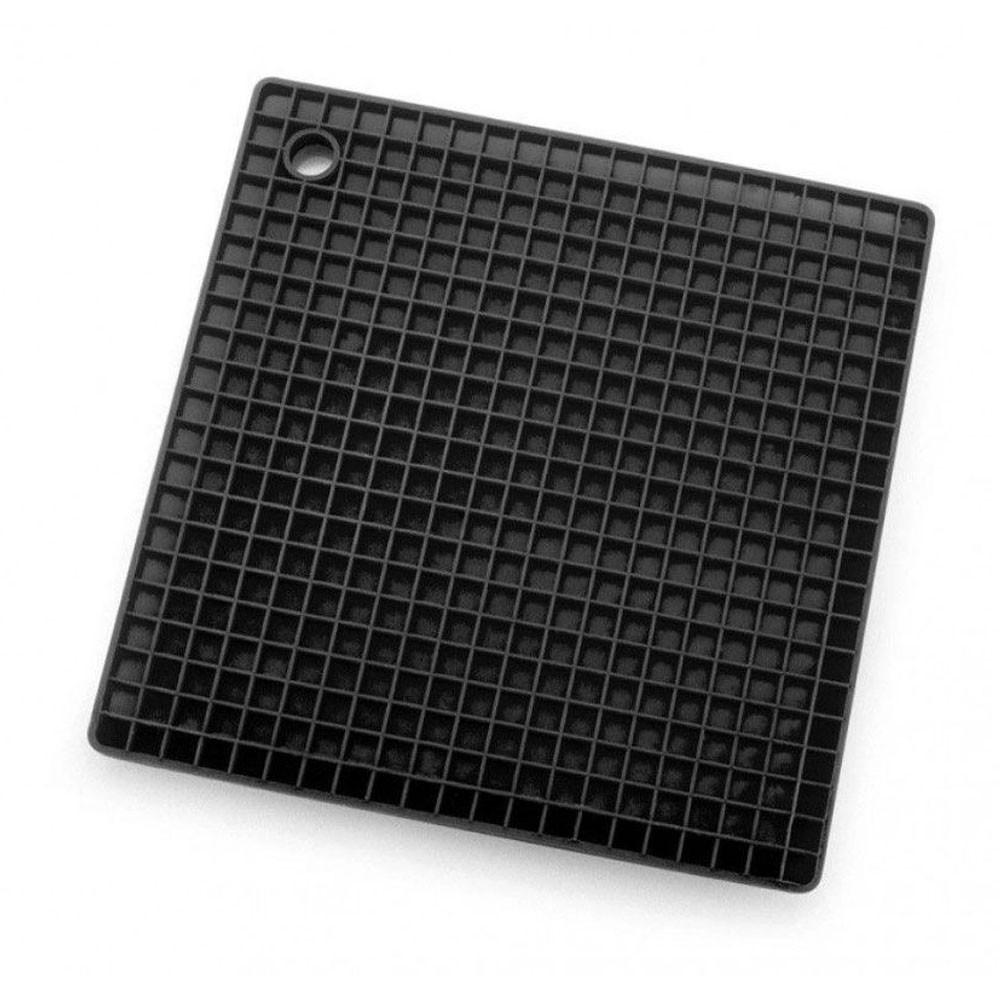Tapete Pequeno Descanso Quadrado Silicone Preto 17X17cm Weck