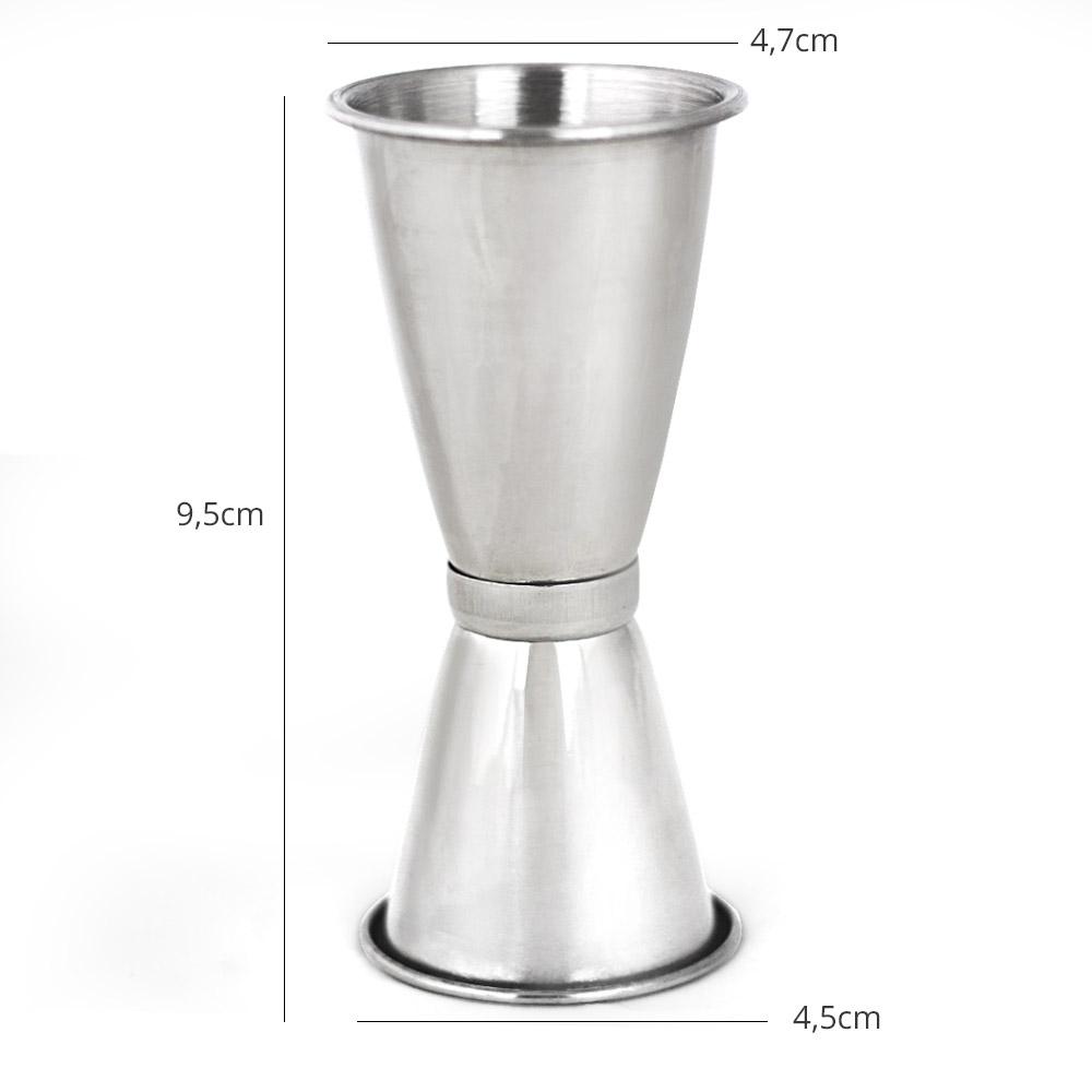 Dosador de Bebidas Duplo com Anel Inox 30ml x 45ml XDX