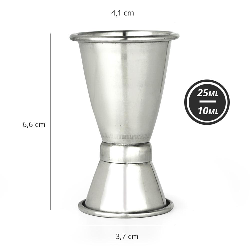 Dosador de Bebidas Duplo Pequeno com Anel Inox 10 x 25ml XIN