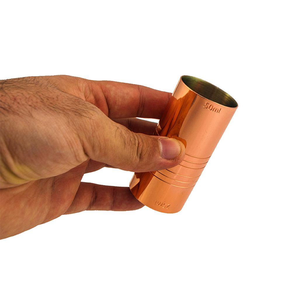 Dosador Cobreado Duplo 25ml e 50ml com 7,5cm