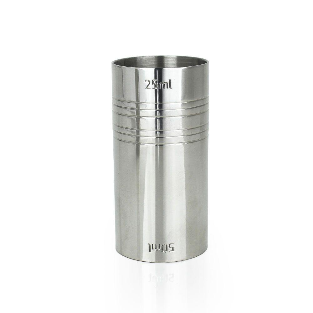 Dosador de Inox Reto Duplo 25ml e 50ml com 7,5cm