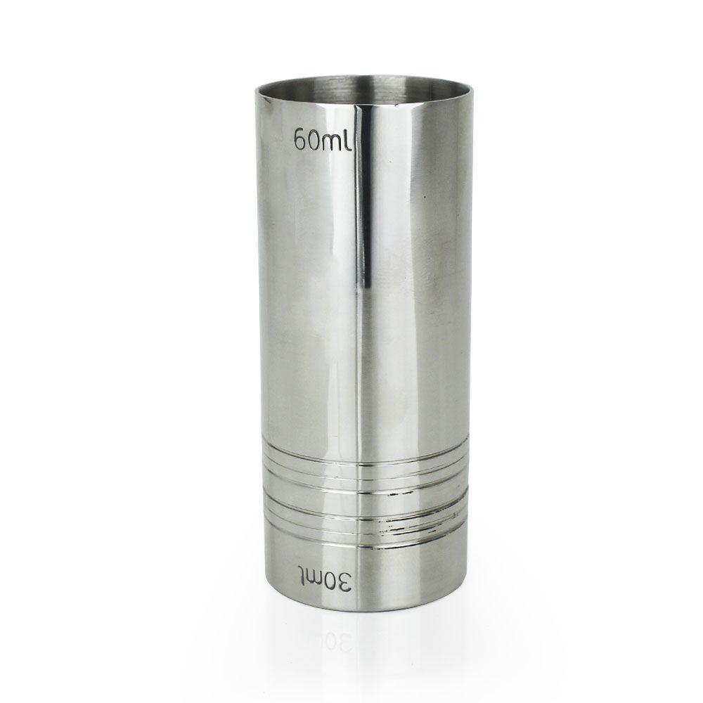 Dosador de Inox Reto Duplo 30ml e 60ml com 9cm