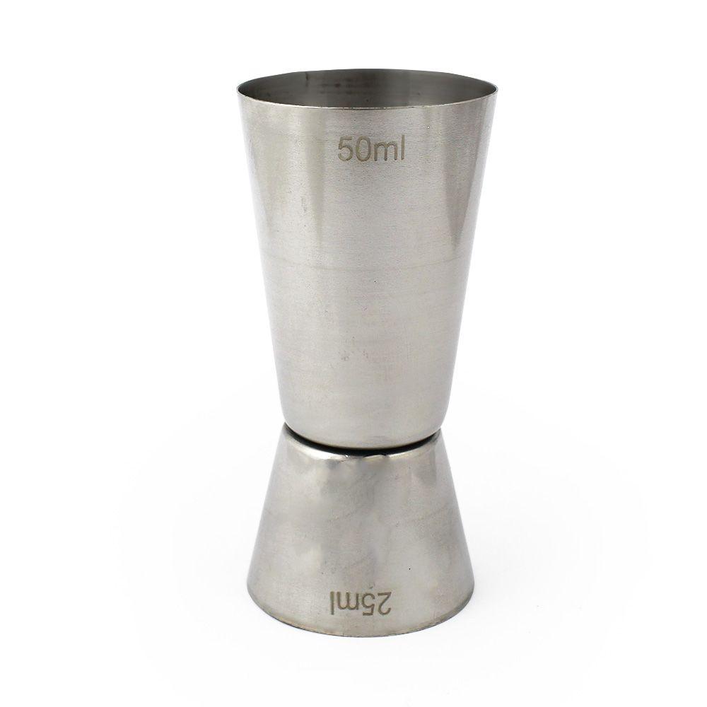 Dosador Duplo Inox 25ml e 50ml Liso