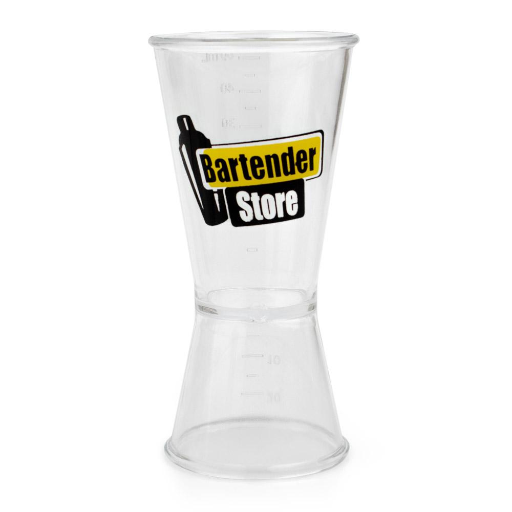 Dosador Poliestireno Transparente com Logo Bartender Store 60ml e 30ml