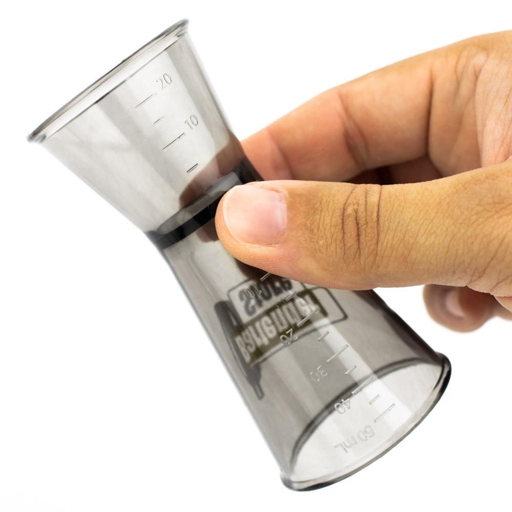 Dosador Poliestireno Fumê com Logo Bartender Store 60ml e 30ml
