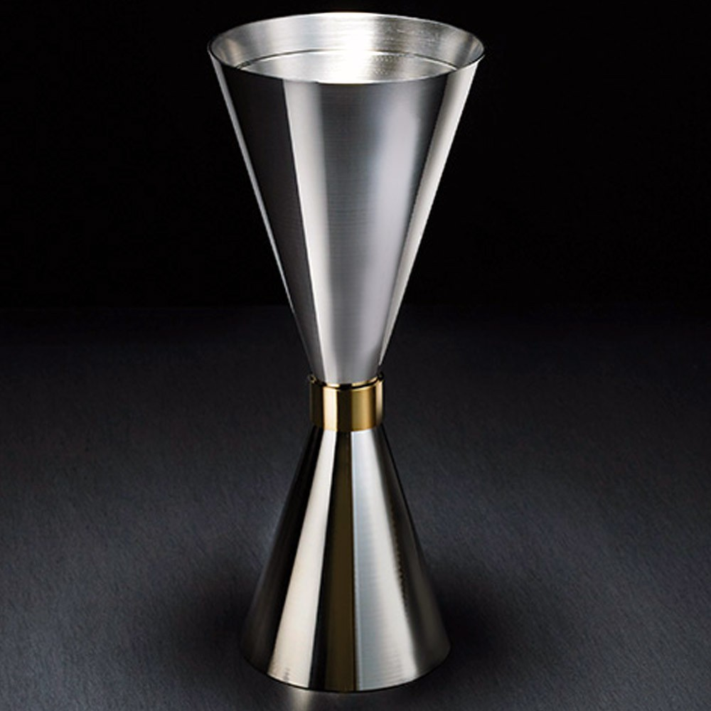 Dosador Slim Inox com Anel Dourado 1oz (30ml) e 2oz (60ml) com marcação