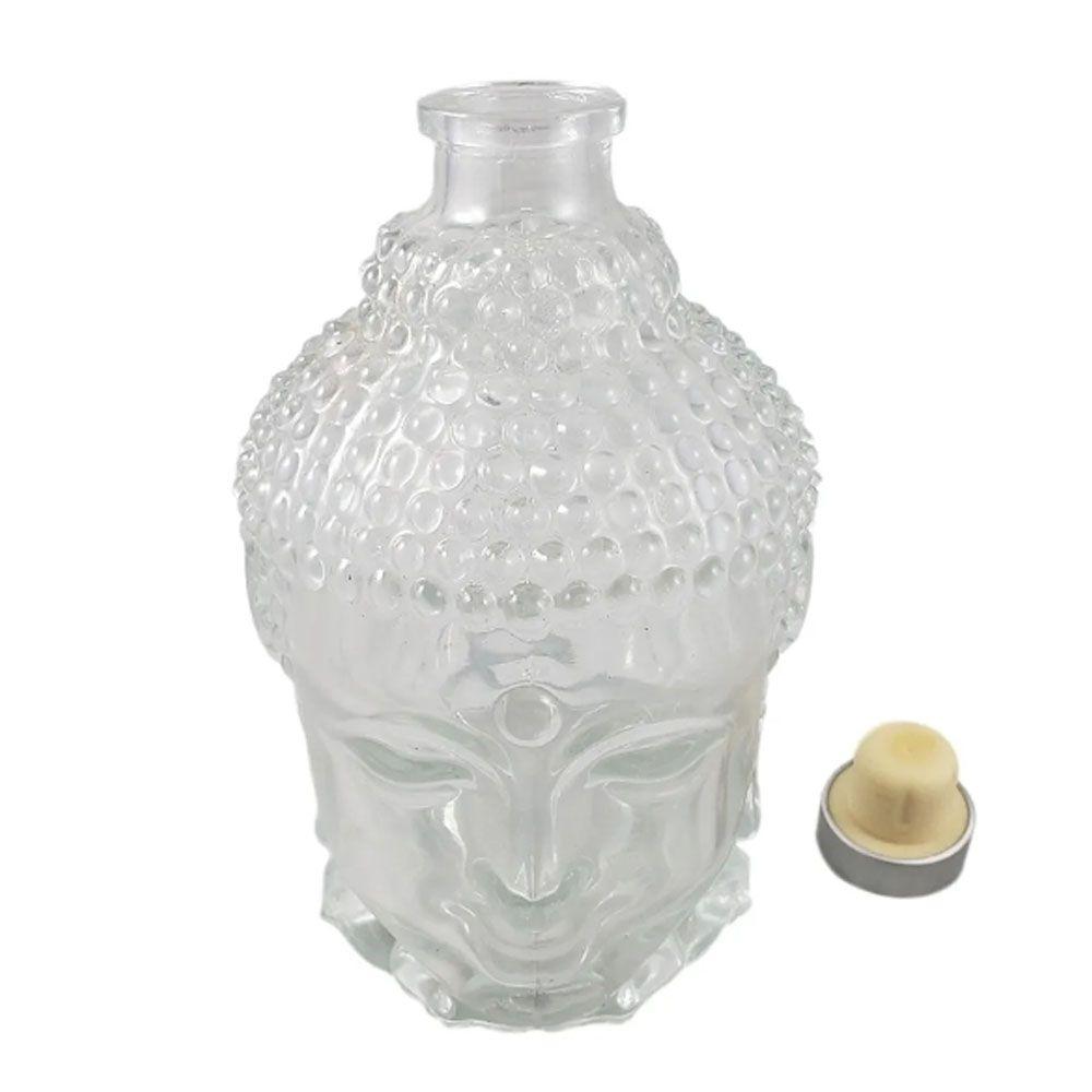 Garrafa Enfeite de Vidro Buda com Rolha 750 ml