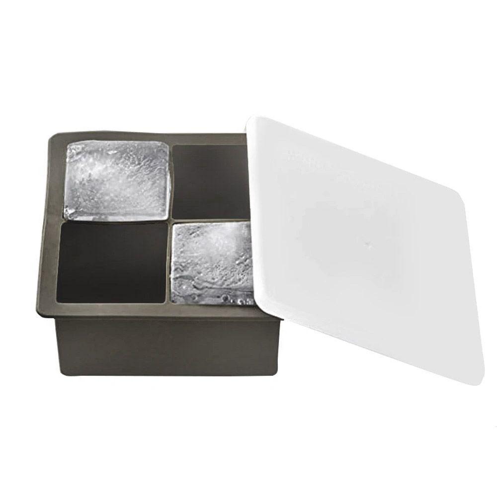 Forma de Gelo Quadrada 4 Cubos Silicone com Tampa UnyHome