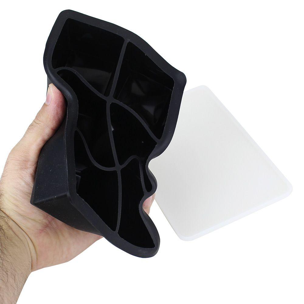 Forma de Gelo Quadrada 5cm Silicone Preta com Tampa