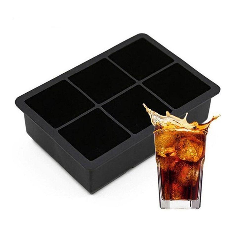 Forma de Gelo Quadrada Grande 5cm Silicone 6 Cubos Preta