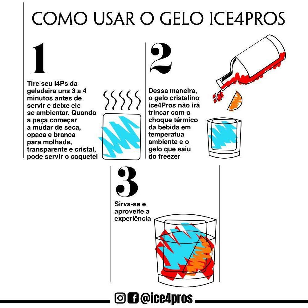 Gelo Congelado Transparente Jogo de 4 Cubos 50x50mm Ice4Pros