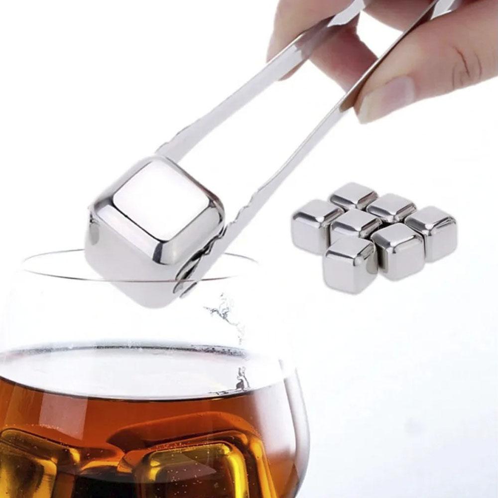Jogo 8 Cubos de Gelo em Inox Com Pegador e Caixa