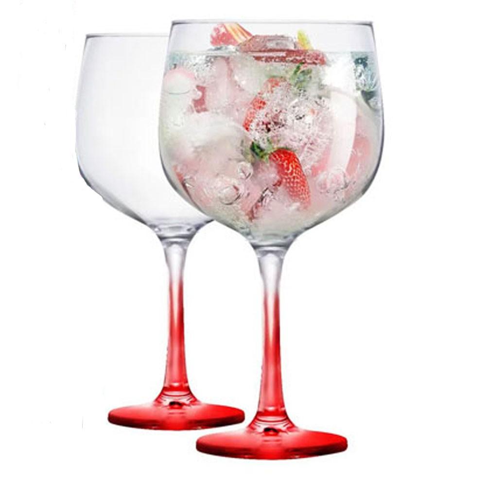 Jogo Com 2 Taças De Gin Gambo Base Vermelha 705 ml