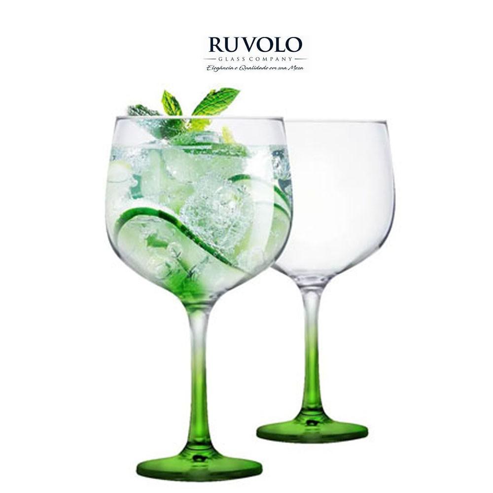Jogo Com 2 Taças De Gin Gambo Com Pé Verde 705 ml