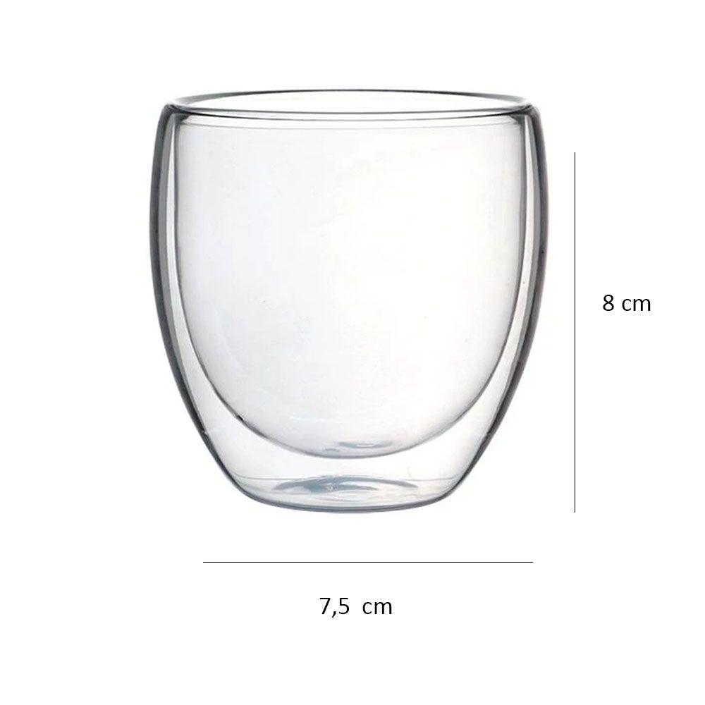 Jogo de 2 Copos parede dupla em vidro borossilicato 240ml
