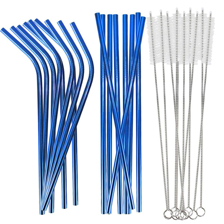 Kit 10 Canudos Inox Curvos 10 Canudos Retos Metálico Azul e 10 Escovas