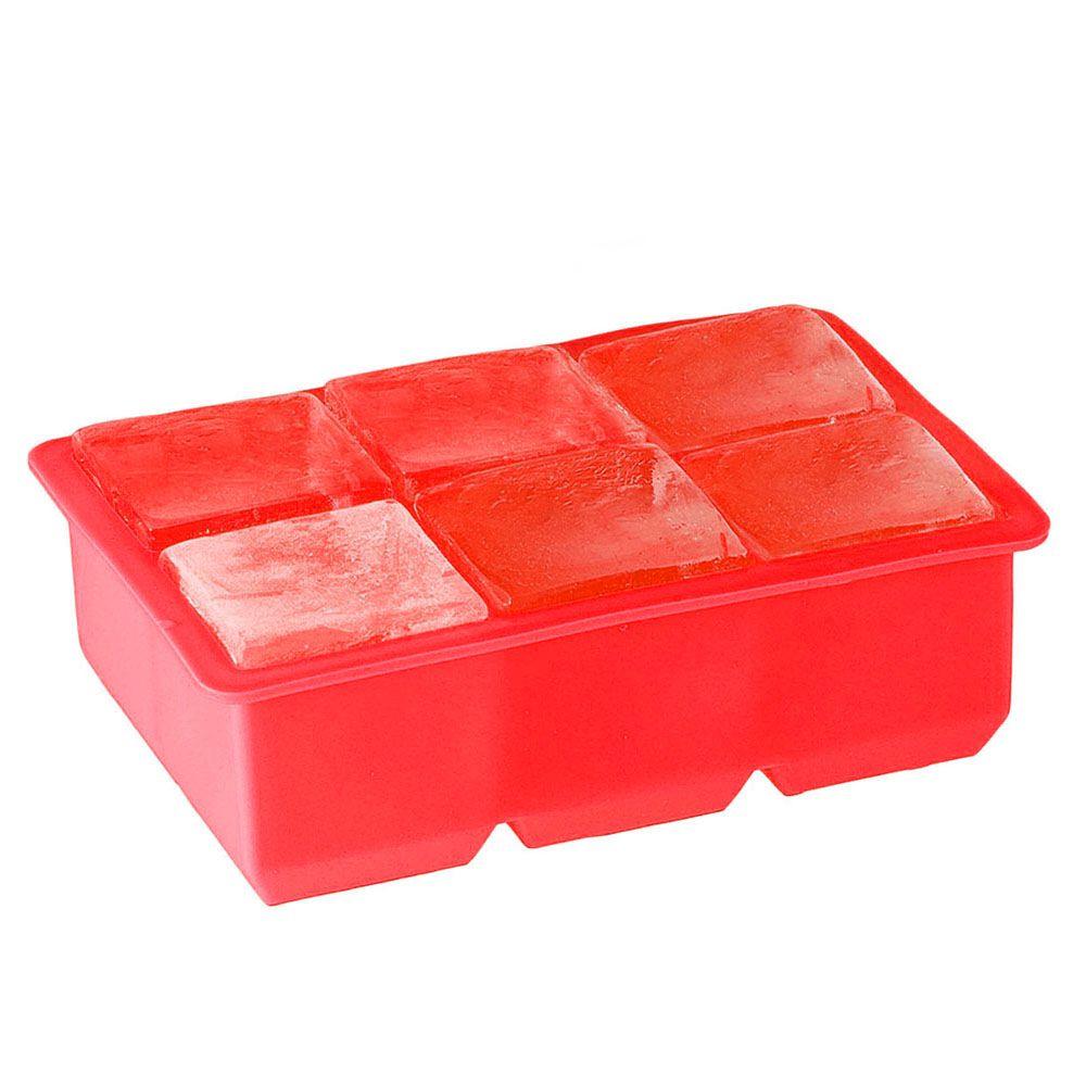Kit 3 Formas de Gelo Quadradas Grandes 5cm Silicone Vermelha