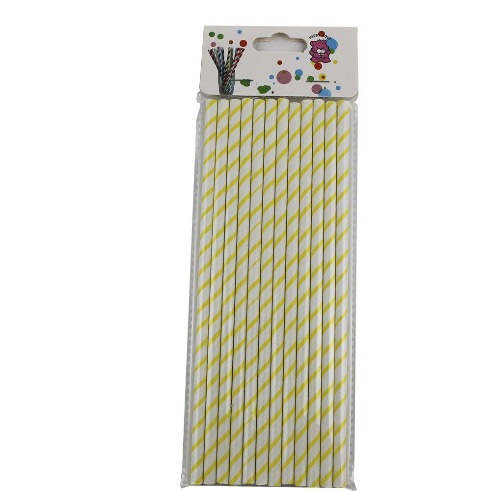 Kit com 60 Canudos de Papel Amarelo Listrado