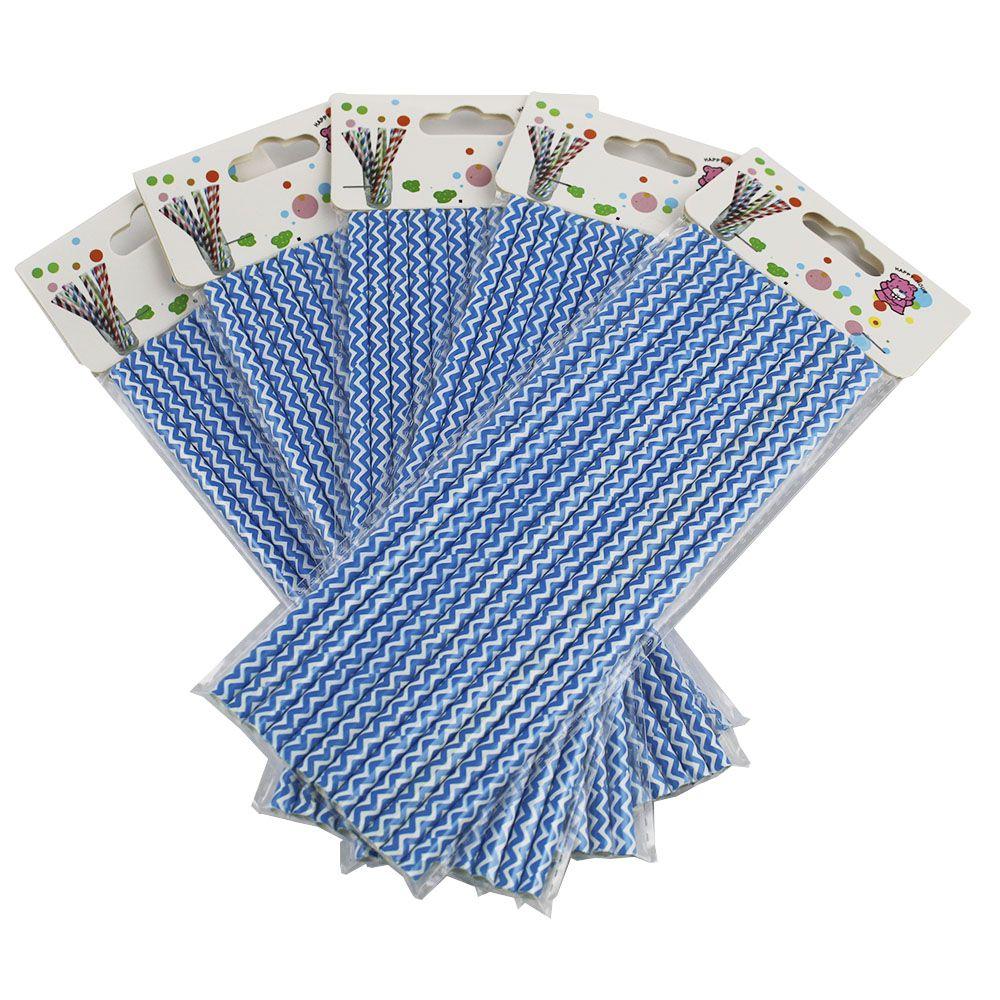 Kit com 60 Canudos de Papel Azul Listrado