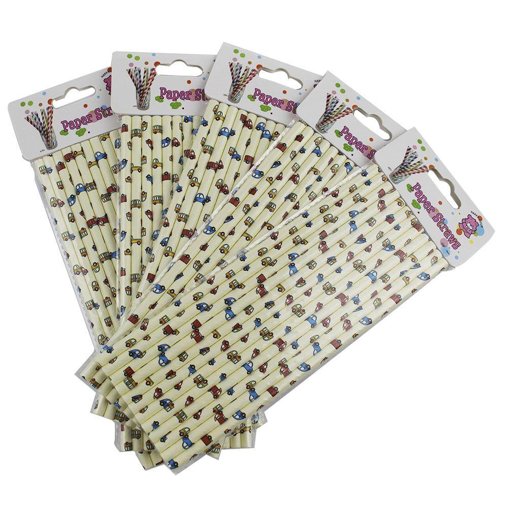 Kit com 60 Canudos de Papel Desenho Carrinho