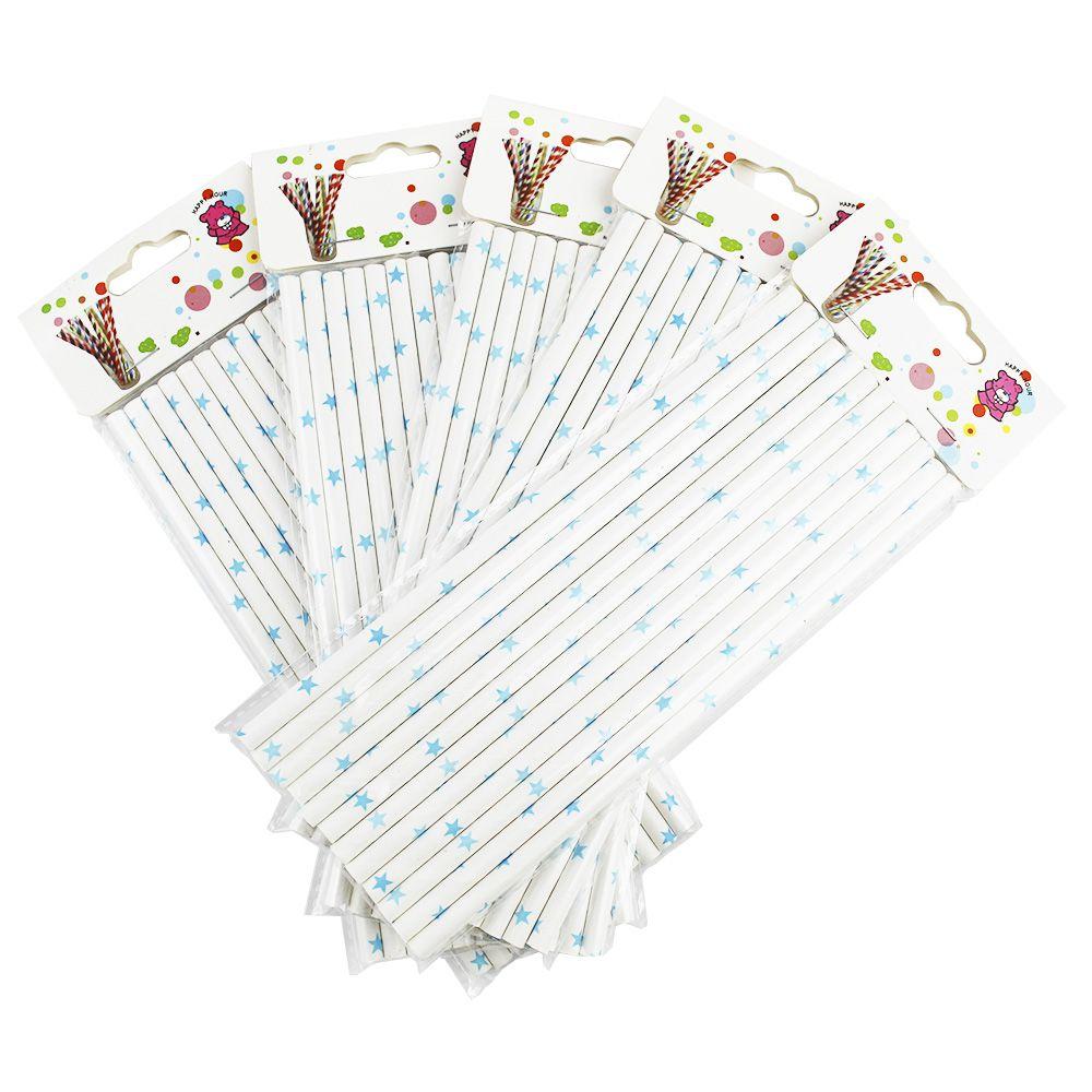 Kit com 60 canudos de Papel Branco com Estrelinhas