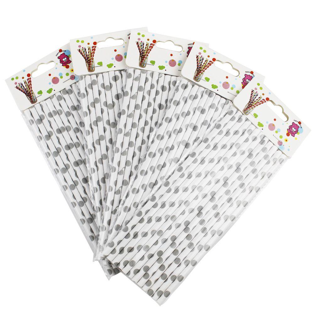 Kit com 60 Canudos de Papel Branco Bolinhas Prata