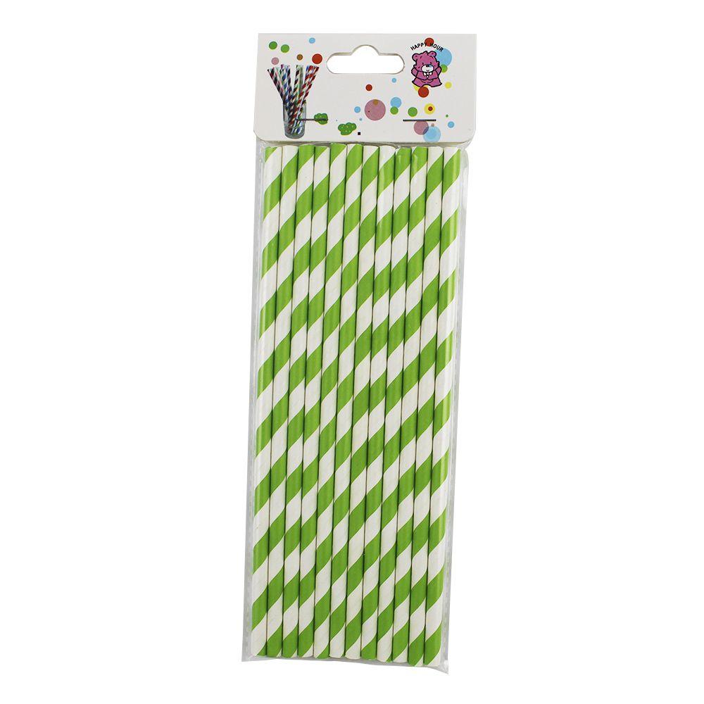 Kit com 60 Canudos de Papel Verde Listrado