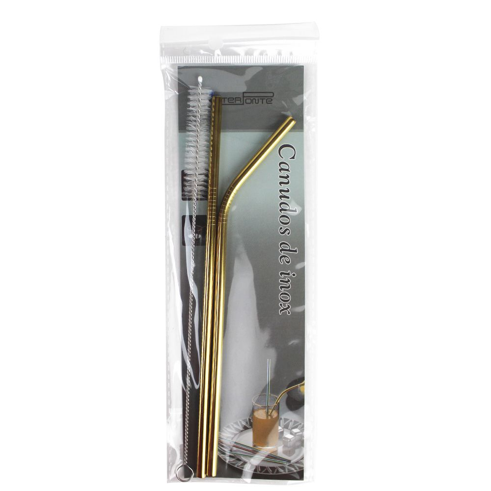 Kit Canudos de Inox Dourado Curvo e Reto com 1 Escova