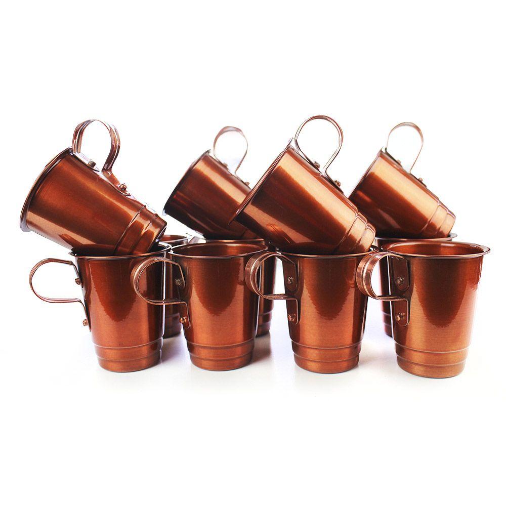 Kit com 12 Canecas 250ml Moscow Mule Alumínio Pintado