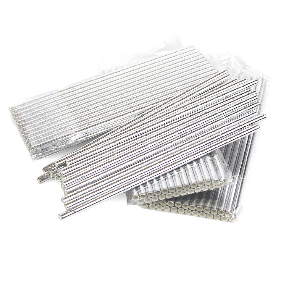 Kit com 250 Canudos de Papel Prata Atacado Eco