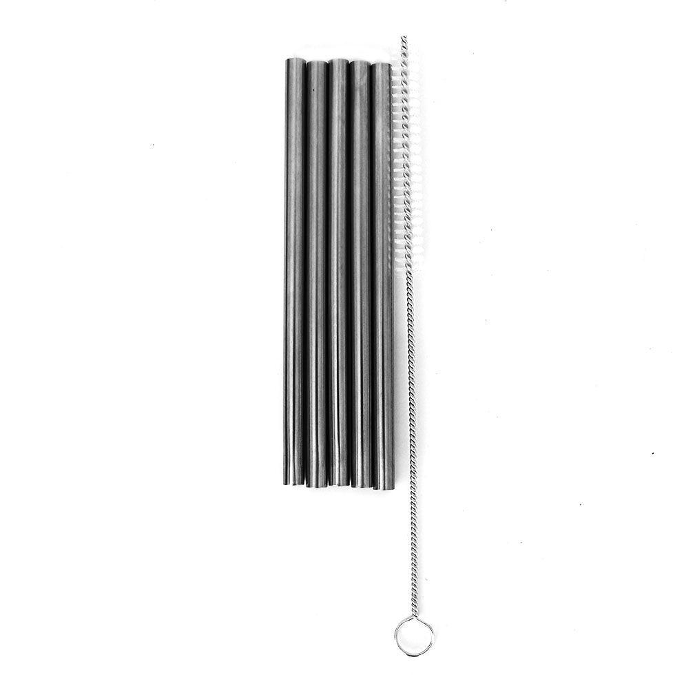 Kit com 5 Canudos de Inox Reutilizável 1 Unidade 15cm e uma escova de Limpeza