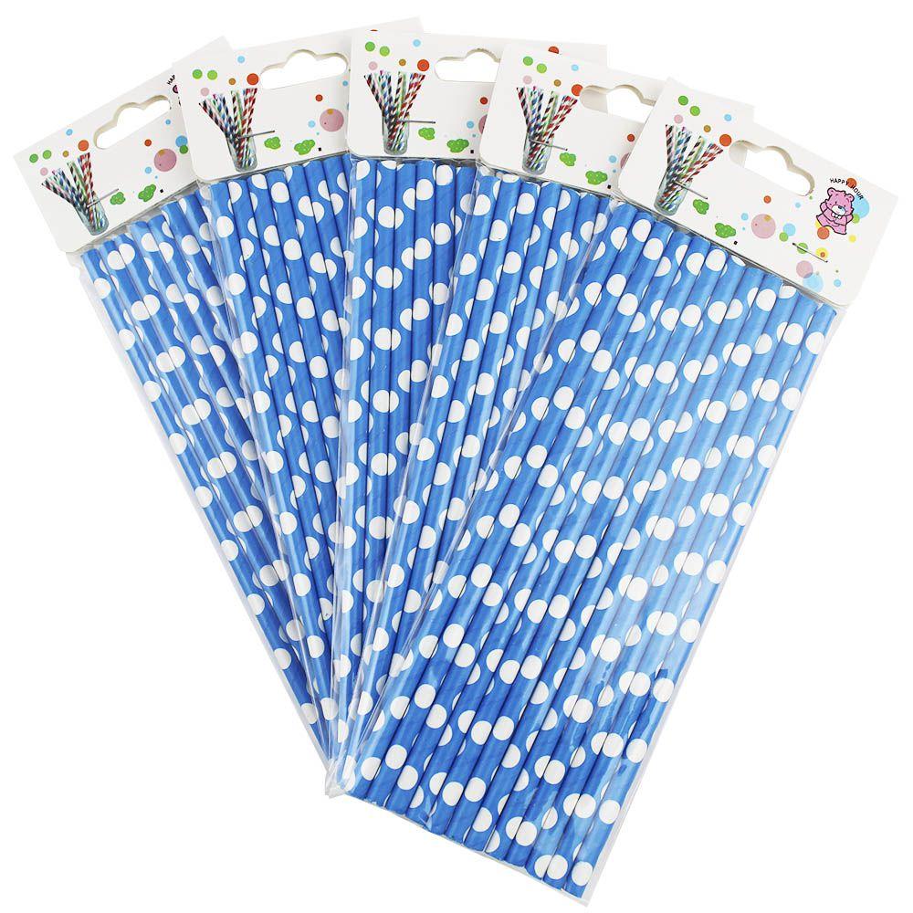 Kit com 60 Canudos de Papel Azul com Bolinhas Brancas
