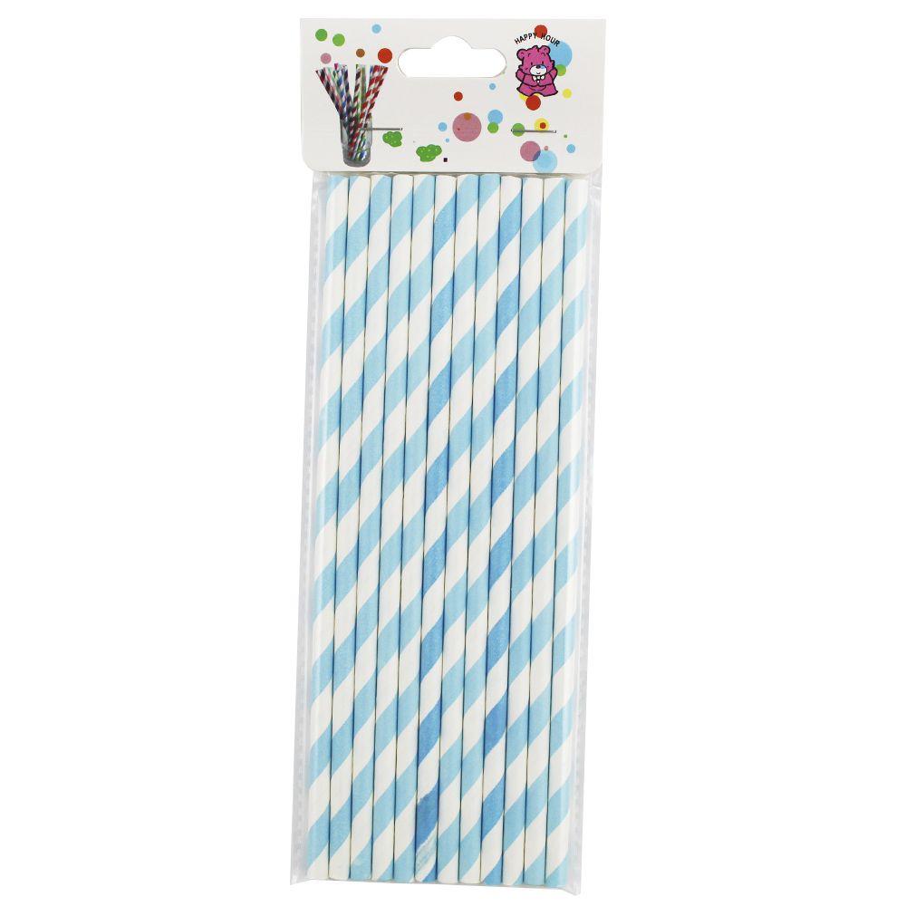 Kit com 60 Canudos de Papel Listrado Azul Bebê