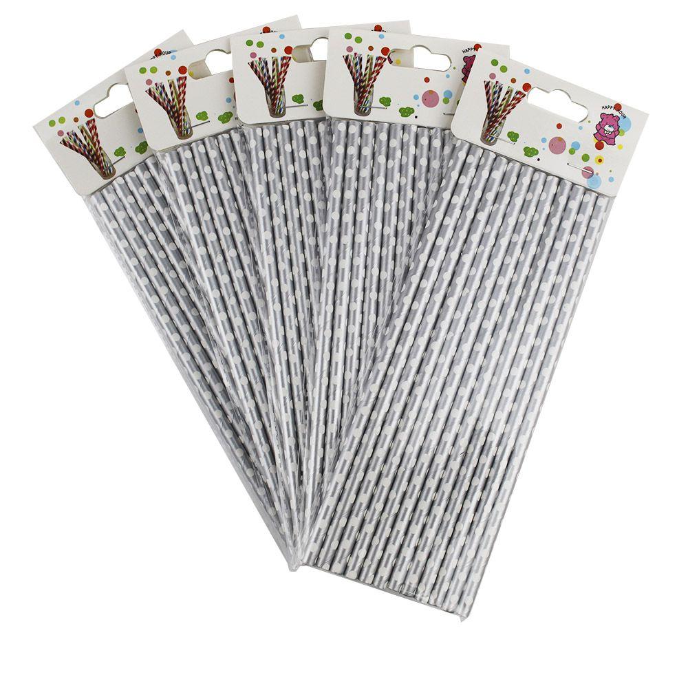 Kit com 60 Canudos de Papel Prata com Bolinhas Brancas