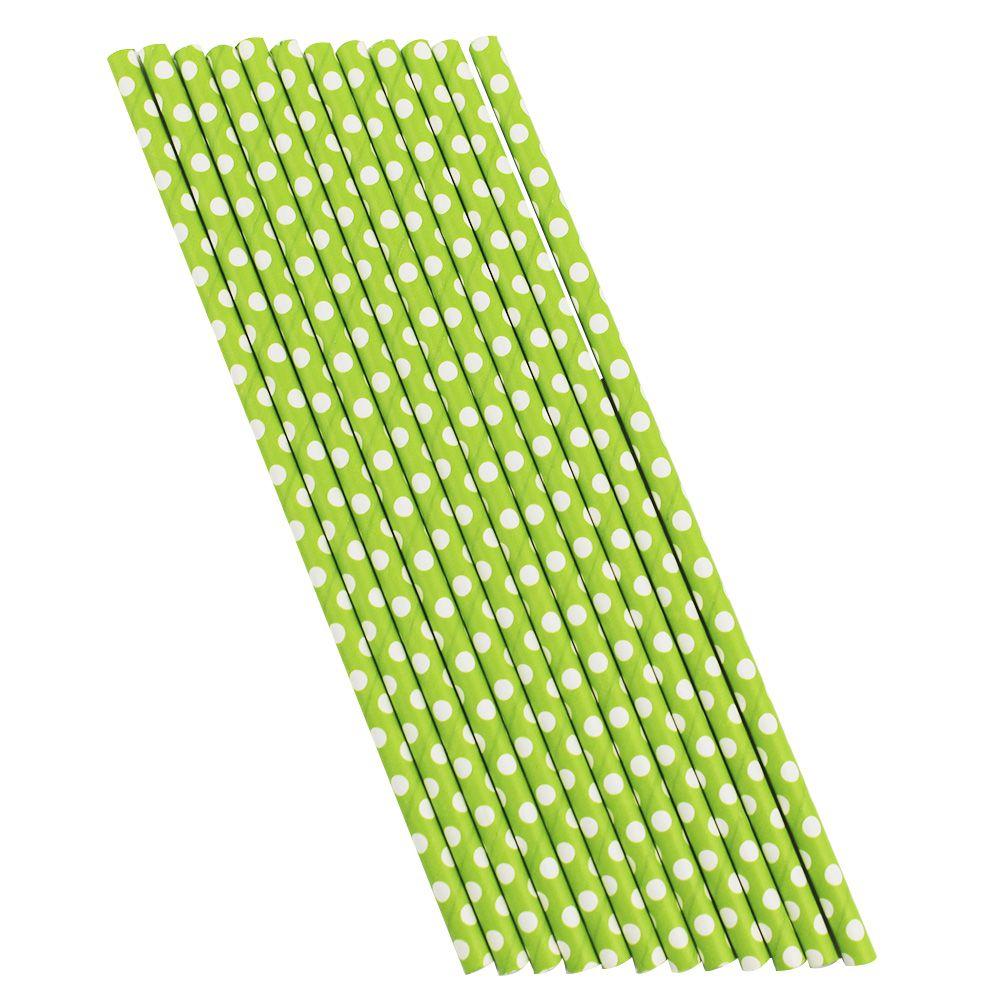 Kit com 60 Canudos de Papel Verde com Bolinhas Brancas