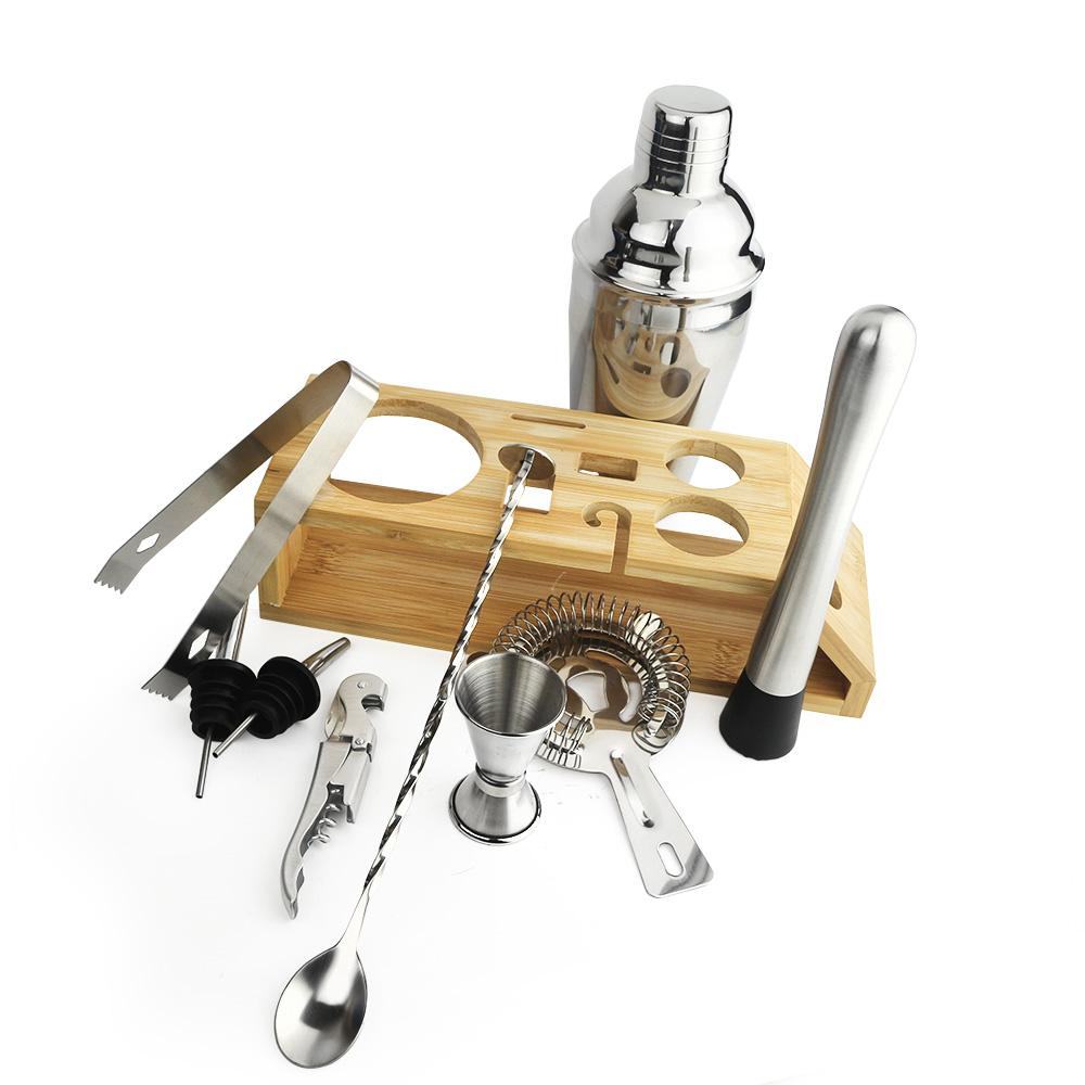Kit HomeBar Bartender Inox Suporte Madeira 10 Pcs Cód3626