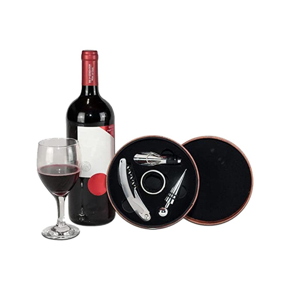Kit Vinho 4 Peças com Estojo de Couro Unyhome
