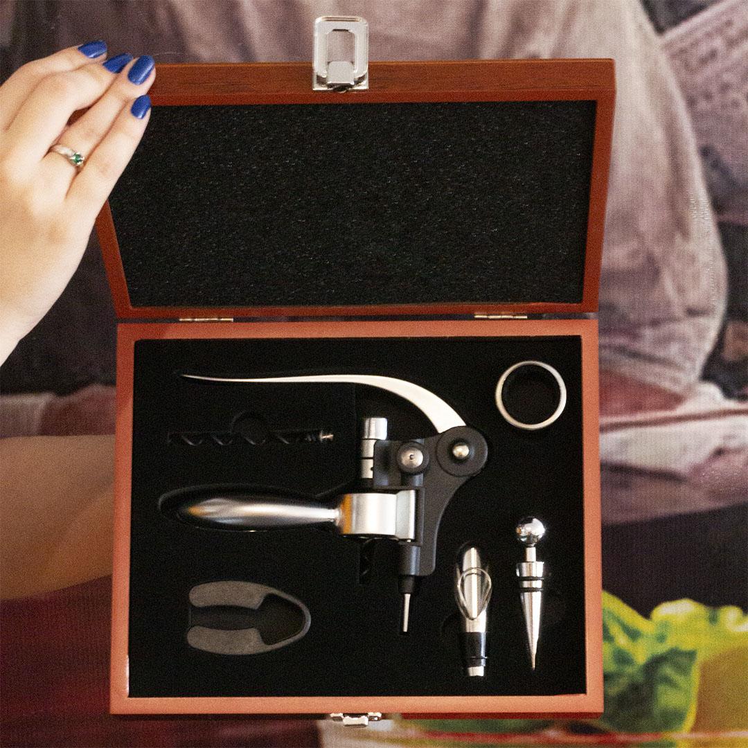 Kit Vinho Luxo 7 Peças com Caixa Envernizada Unyhome