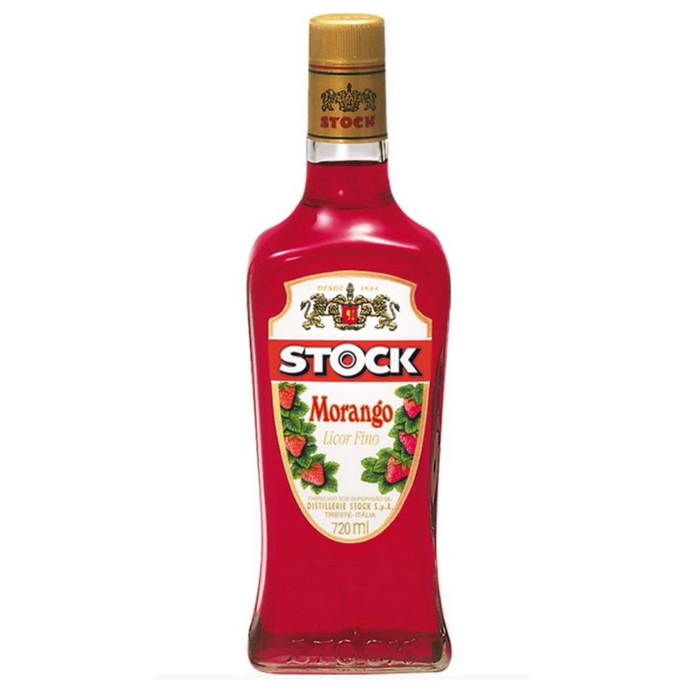 Licor Fino Stock Morango 720ml Garrafa Vidro