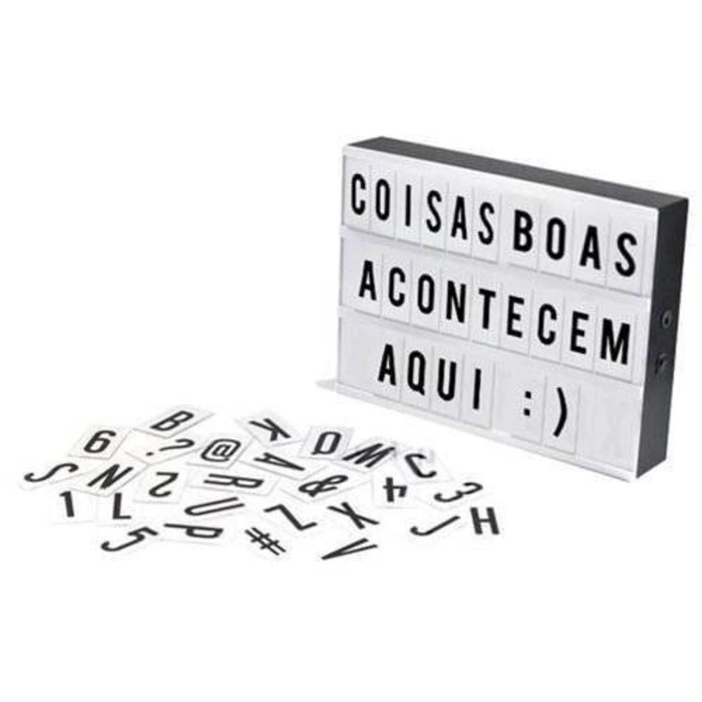 Luminoso Led Box Pequeno A5 Com 96 Letras Números Símbolos