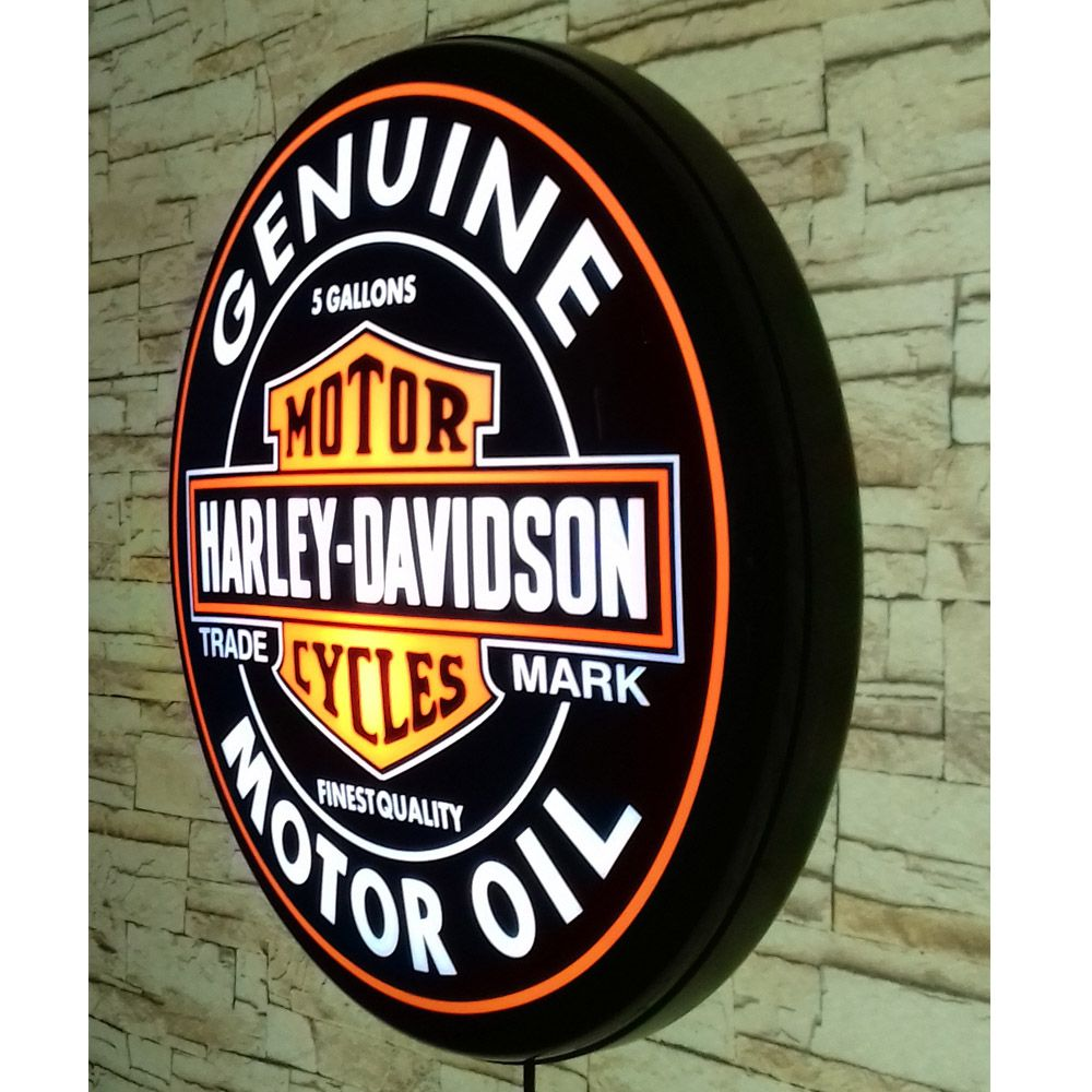 Luminoso Retro Harley Davidson 40cm Decor Parede