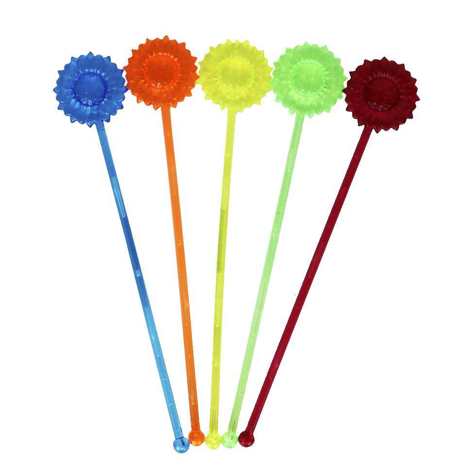 Mexedor Neon Girassol para Drink Colorido 5 unidades