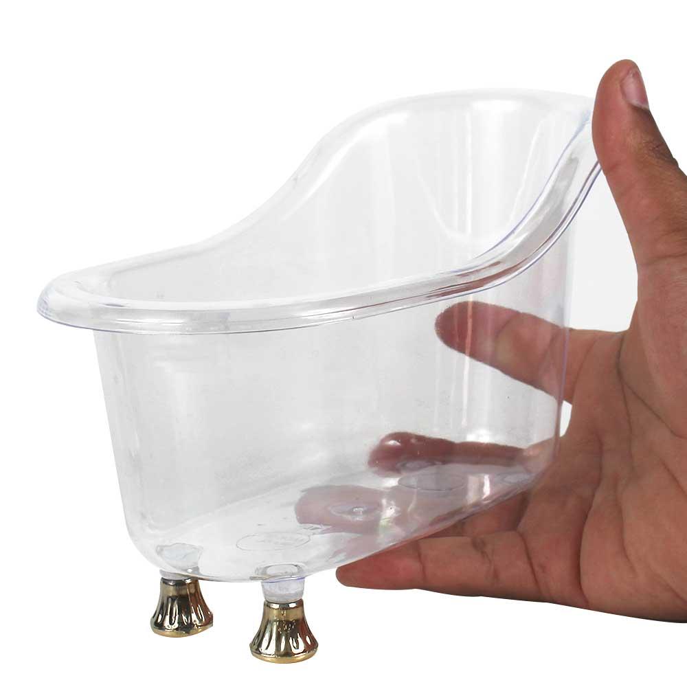 Mini Banheira P Acrílica Transparente Pé Ouro