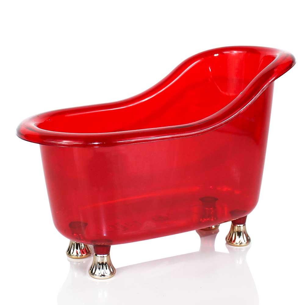 Mini Banheira P Acrílica Vermelha Pé Ouro