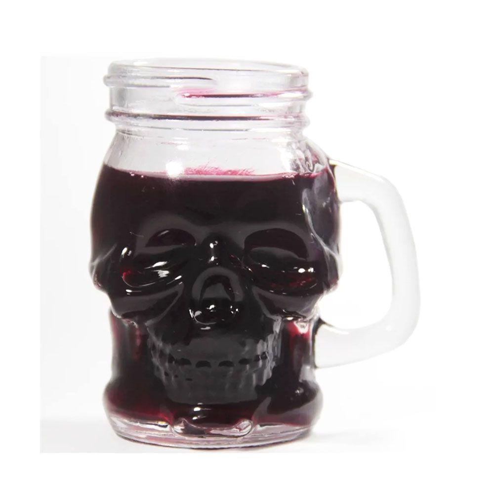 Mini Caneca de Vidro Caveira Skull Head 110ml
