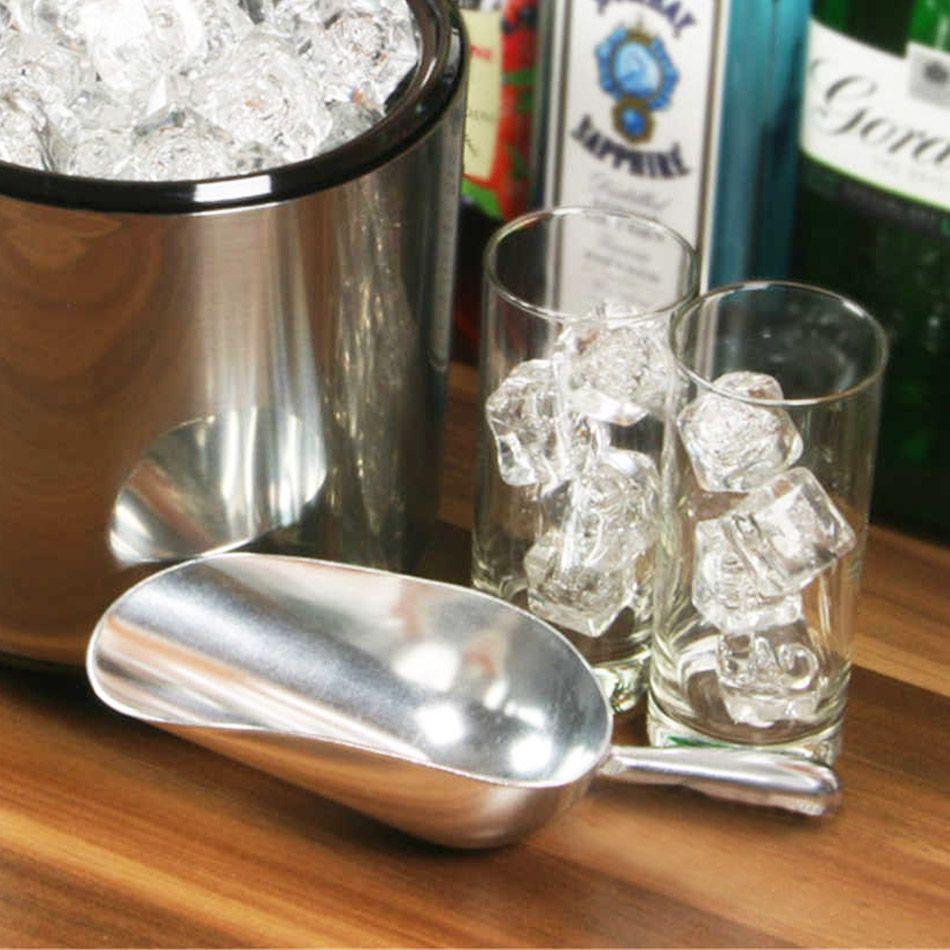 Pá de Gelo Pequena Resistente em Alumínio 360ml com Cabo Curto